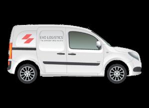 A white van with Evo Logistics logo