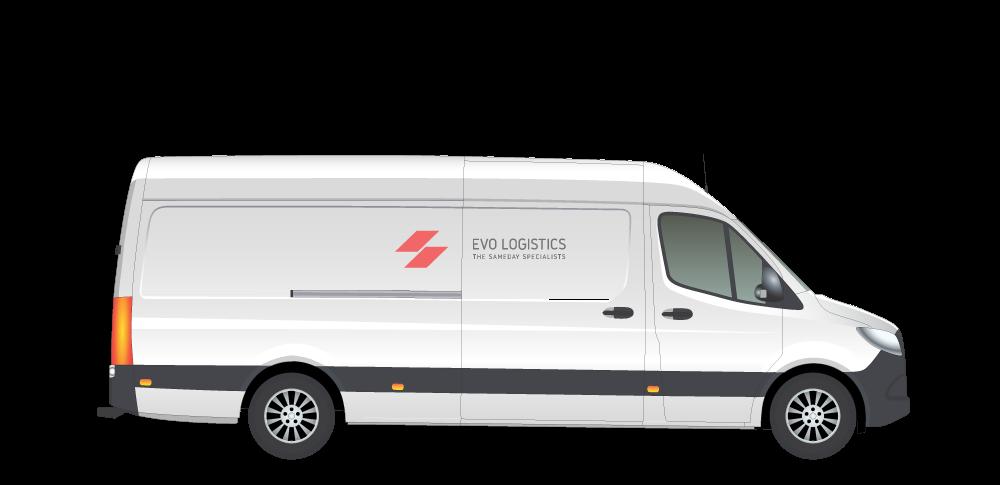 A long white van with Evo Logistics logo