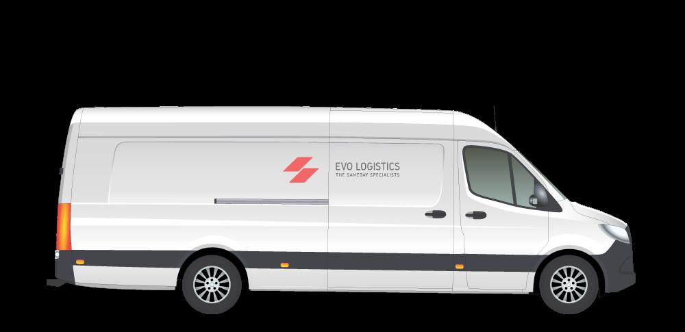An extra-long white van with Evo Logistics logo