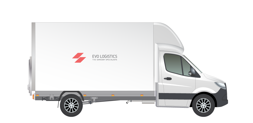 A white truck with Evo Logistics logo