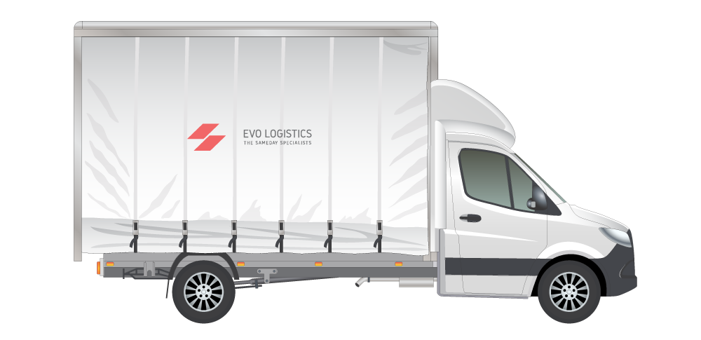 A large white truck with Evo Logistics logo