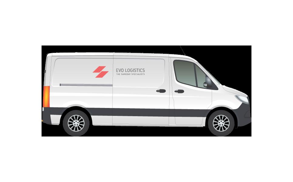 A large white van with Evo Logistics logo